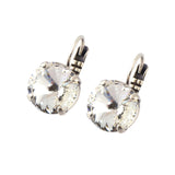 Mariana Clear Silver Plated Petite Round Swarovski Crystal Drop Earrings
