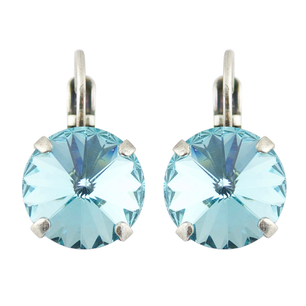"Mariana ""Coco"" Matte Finish Silver Plated Round Crystal Drop Earrings"