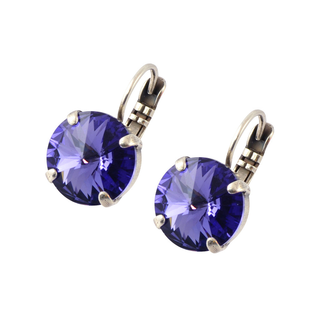 Mariana Silver Plated Petite Round Swarovski Crystal Drop Earrings