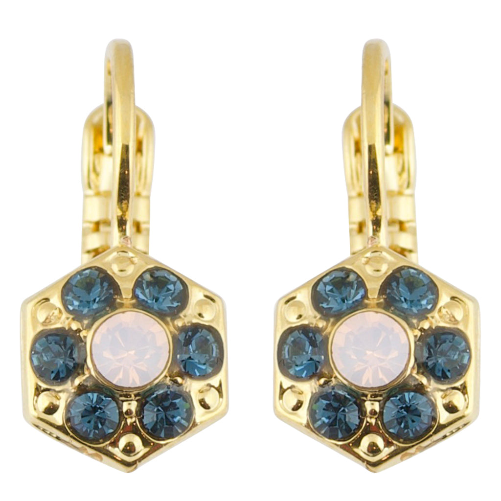 "Mariana ""Blue Morpho"" Gold Plated Petite Hexagon Crystal Drop Earrings"