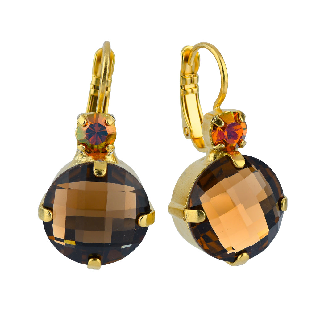 "Mariana Jewelry ""Caramel"" Gold Plated Large Round Crystal Drop Earrings"