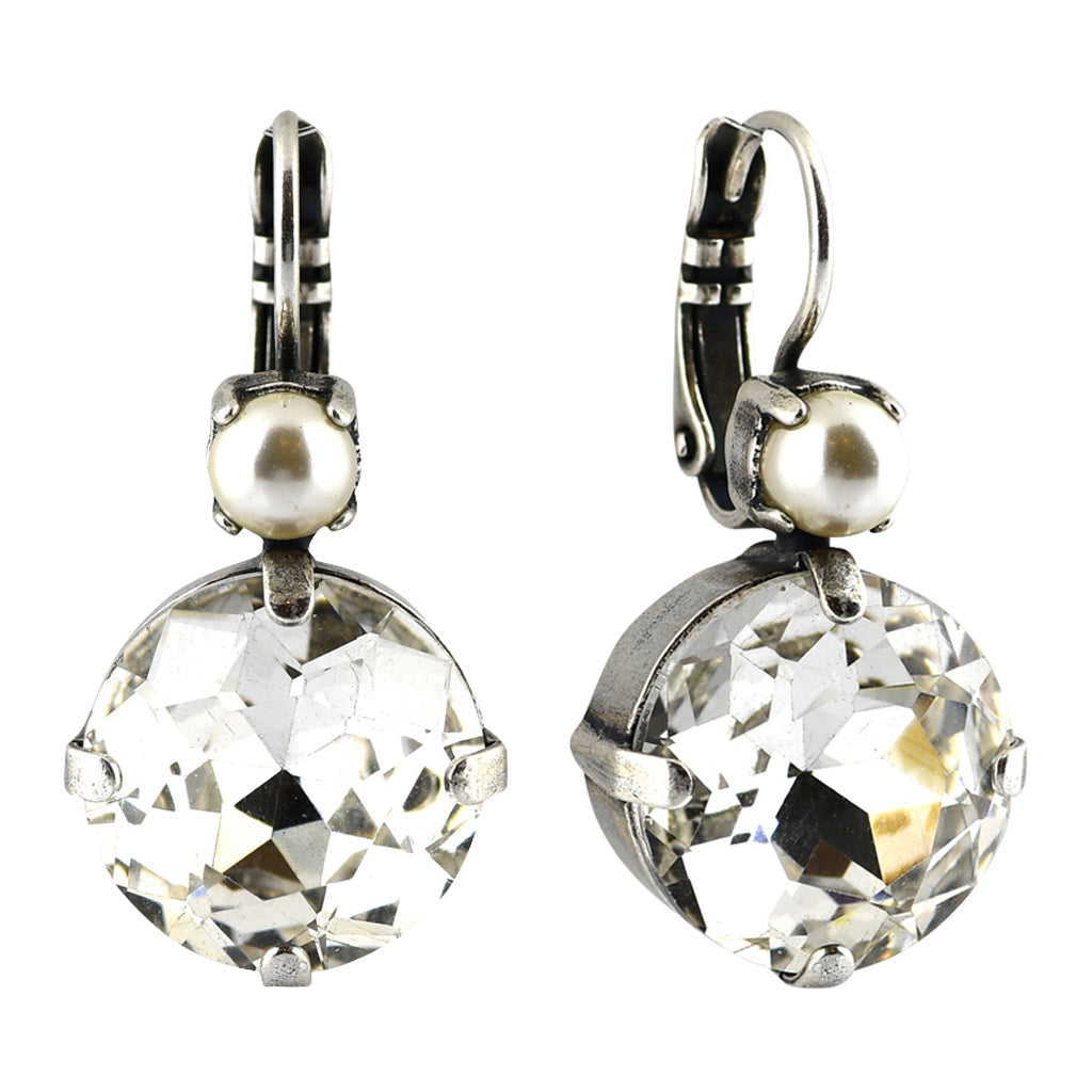 Mariana Jewelry Champagne and Caviar Earrings, Silver Plated with Swarovski Crystal, Nature Collection MAR-E-1506 3911 SP6