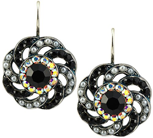"Mariana Jewelry ""Peace"" Silver Plated Crystal Large Twist Drop Earrings"