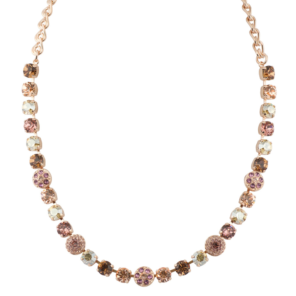 "Mariana Rose Gold Plated ""Meadow Brown"" Crystal Flower Necklace, 18"""