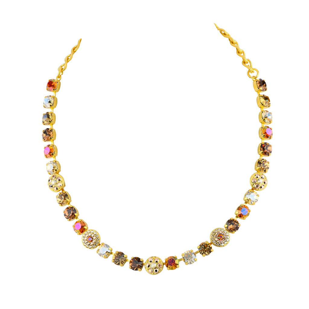 "Mariana ""Caramel"" Gold Plated Crystal Flower Necklace, 18"""