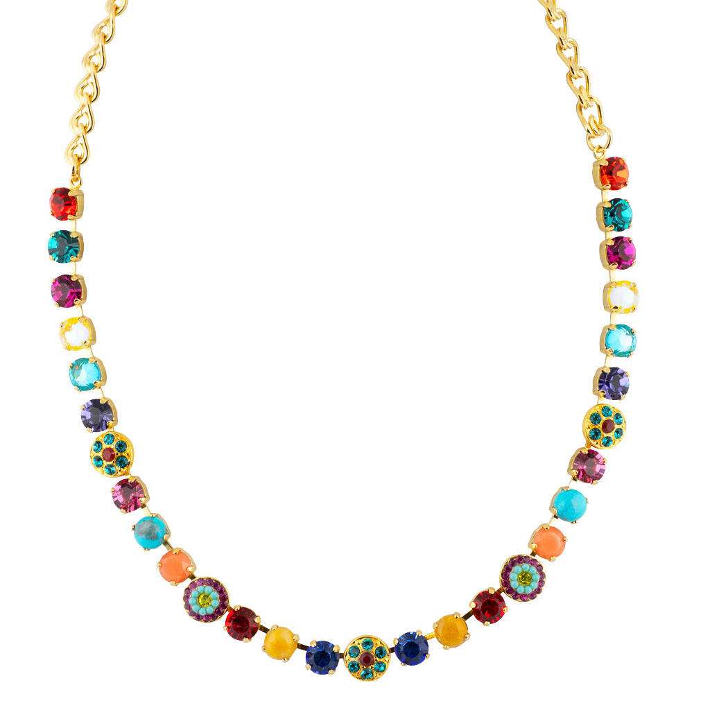 "Mariana Poppy Gold Plated Flower Necklace, 18"" 3044/1"