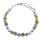 Mariana Jewelry Macaroon Flower Necklace, Silver Plated, 18