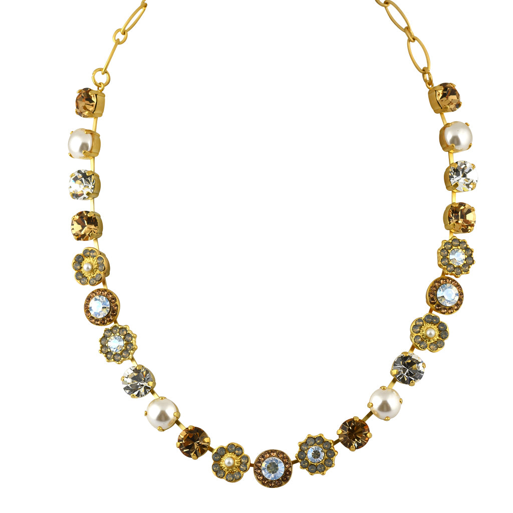 Mariana Jewelry Champagne and Caviar Necklace, Gold Plated with Swarovski Crystal, Nature Collection MAR-N-3045_1 3911 YG