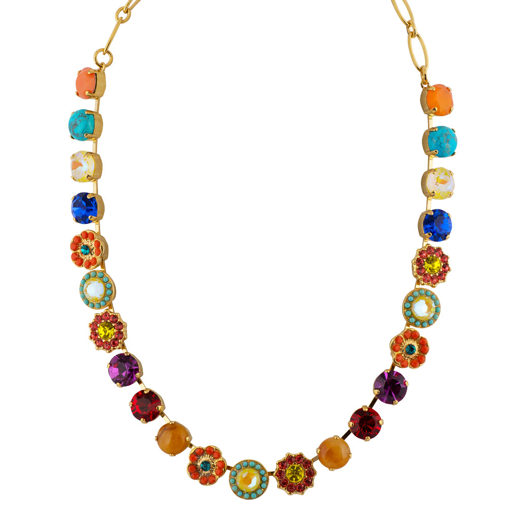 "Mariana Poppy Flower Necklace, Gold Plated, 18"" 3045/1M"