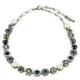 Mariana Jewelry French Silk Flower Necklace, Silver Plated, 18