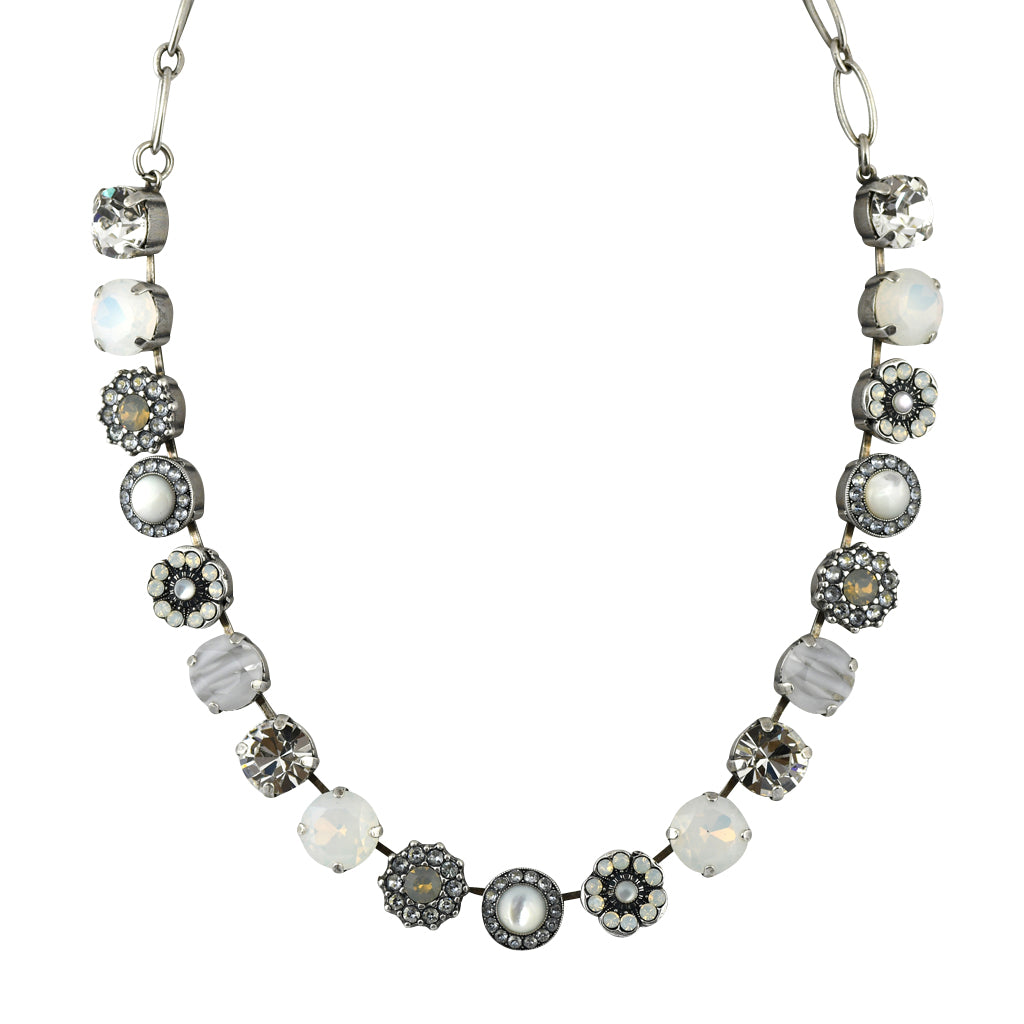 Mariana Jewelry Silk Necklace, Silver Plated with Swarovski Crystal, Nature Collection MAR-N-3084 1049 SP