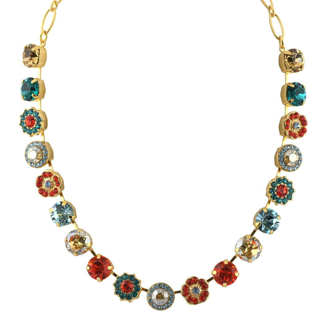 "Mariana Jewelry Tinsel Large Flower Necklace, Gold Plated with Multicolor Crystal, 18"" 3084"