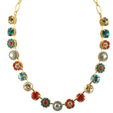 Mariana Jewelry Tinsel Large Flower Necklace, Gold Plated with Multicolor Crystal, 18