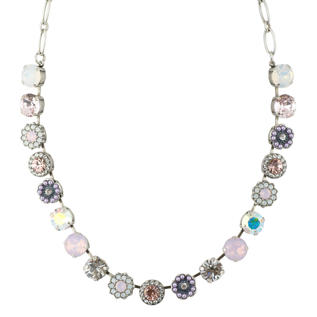 "Mariana Large Flower Necklace, ""On A Clear Day"" Silver Plated, 18"""