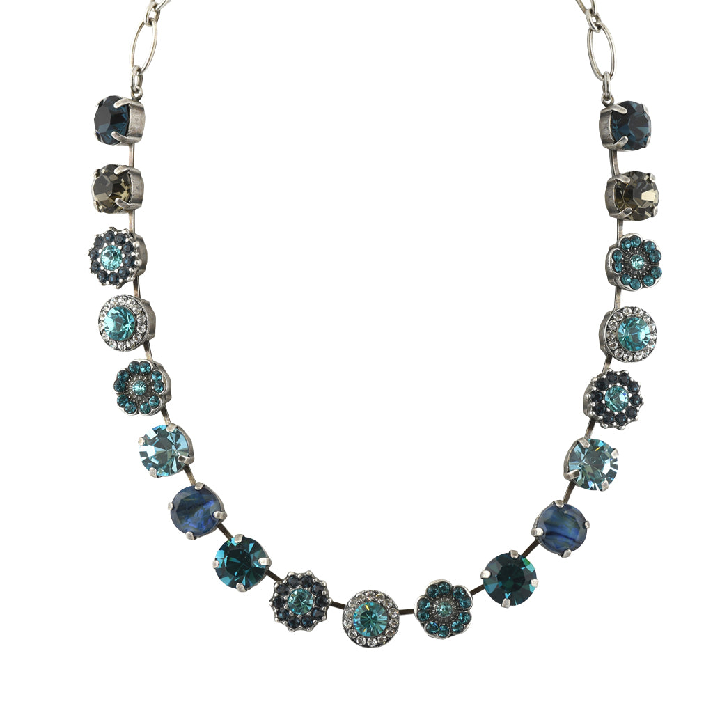Mariana Jewelry Frost Silver Plated Crystal Floral Necklace, 18""