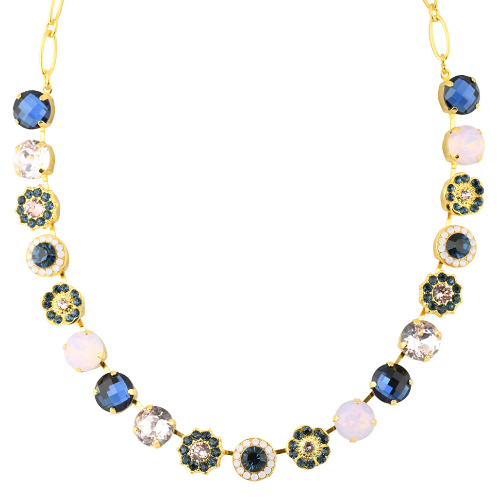 "Mariana Large Flower Necklace, ""Blue Morpho"" Gold Plated, 18"""