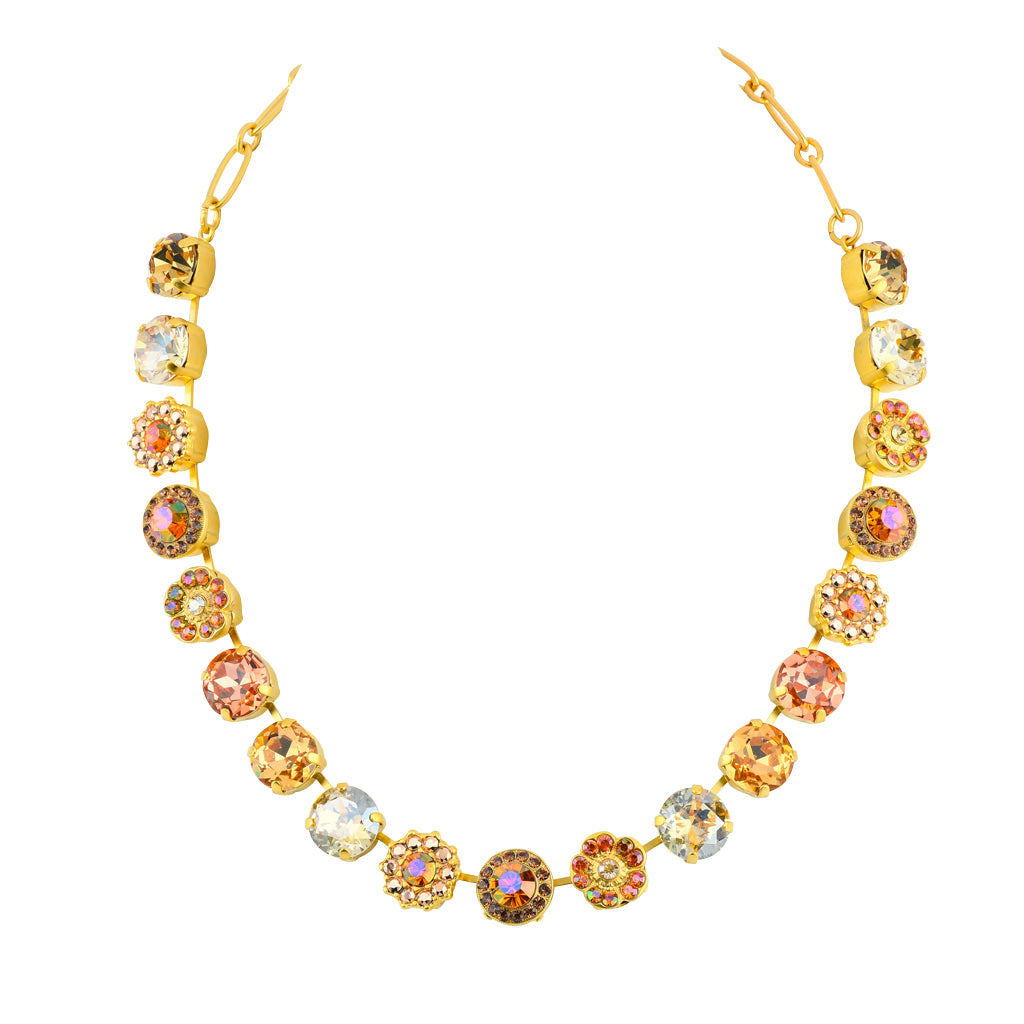 "Mariana Jewelry Gold Plated ""Caramel"" Large Crystal Frost and Flower Necklace, 18"""