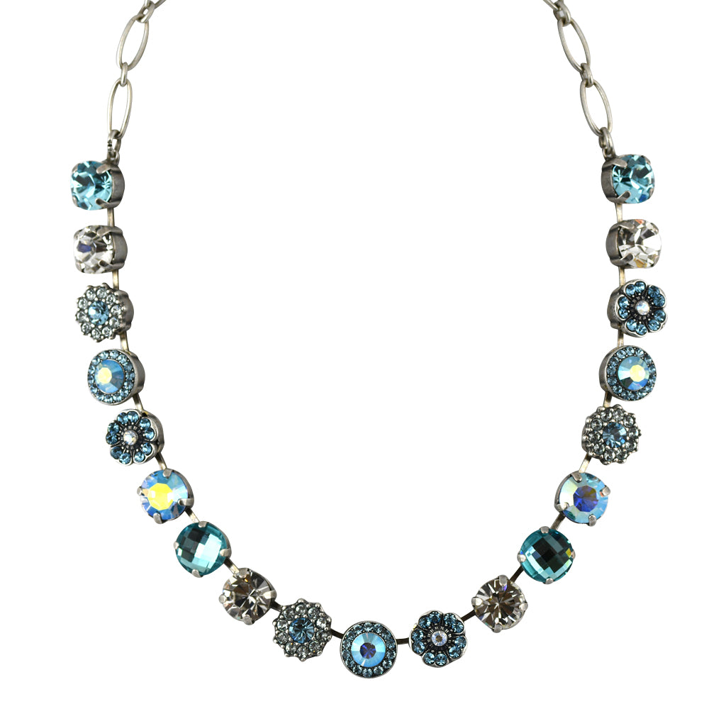 Mariana Jewelry Italian Ice Necklace, Silver Plated with Swarovski Crystal, Nature Collection MAR-N-3084 141 SP