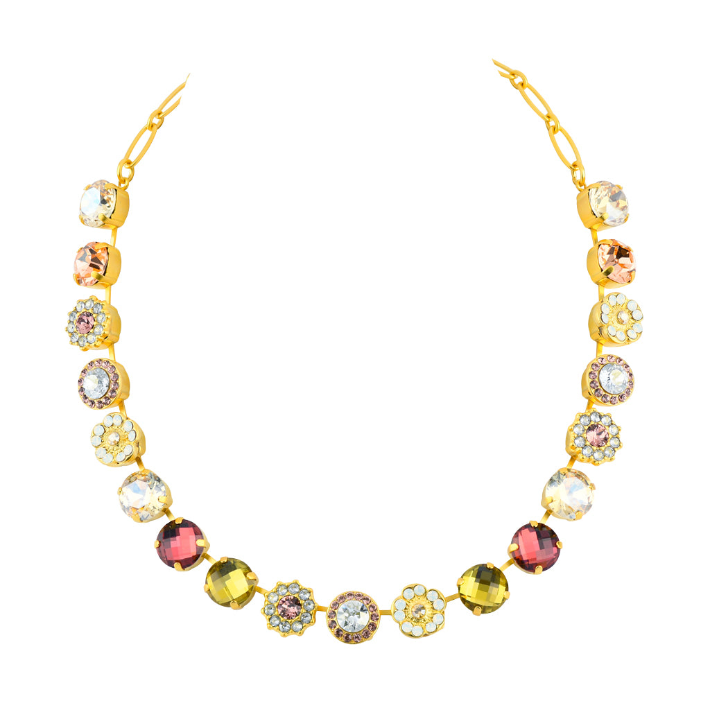 "Mariana Gold Plated ""Creme Brulee"" Large Crystal Frost and Flower Necklace, 18"""