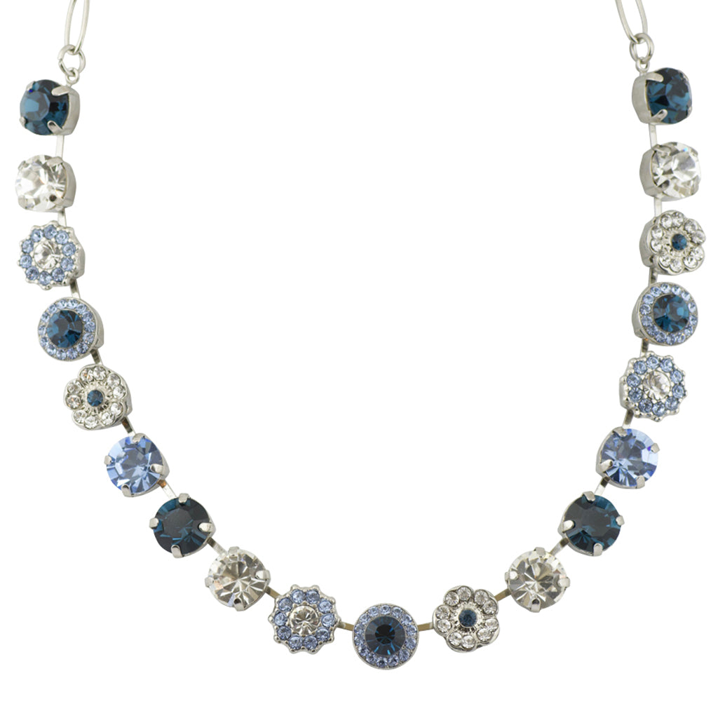 "Mariana Large Flower Necklace, ""On A Clear Day"" Rhodium Plated, 18"""