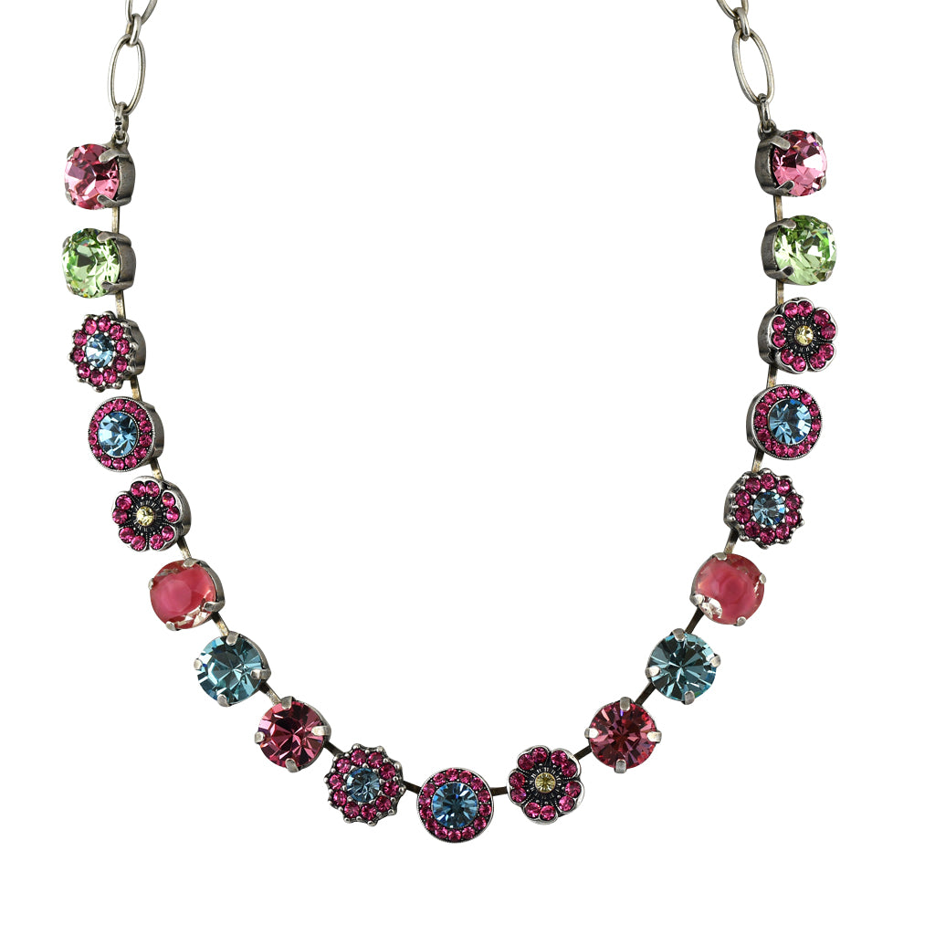 Mariana Jewelry Spring Flowers Necklace, Silver Plated with Swarovski Crystal, Nature Collection MAR-N-3084 2141 SP