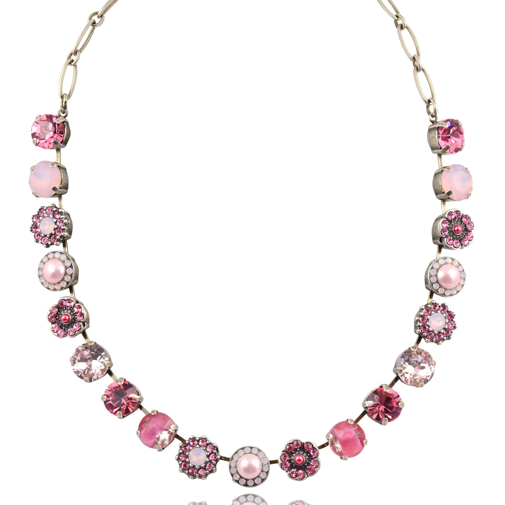 "Mariana Jewelry Antigua Large Flower Necklace, Silver Plated with Pink Crystal, 18"" 3084 223-1"