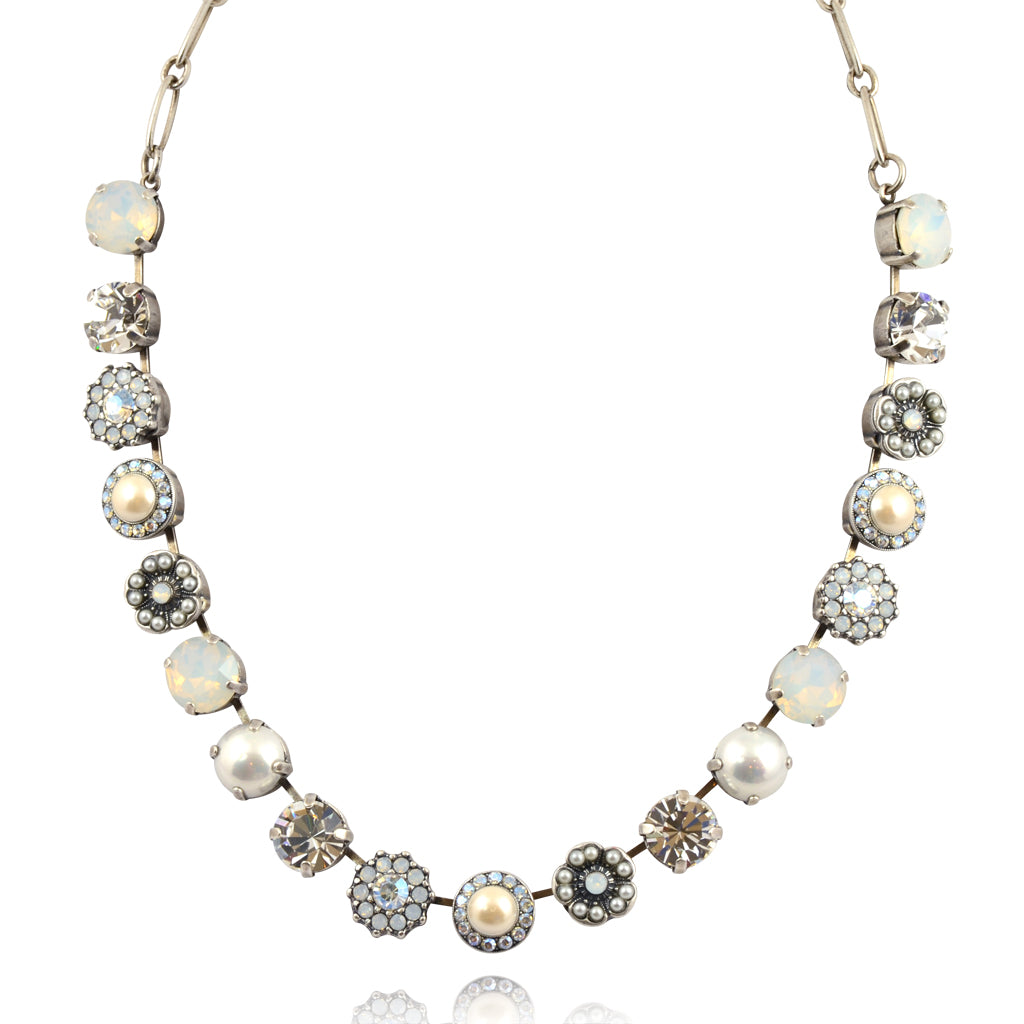 "Mariana Jewelry Bermuda Large Flower Necklace, Silver Plated with Neutral Crystal, 18"" 3084 2340"