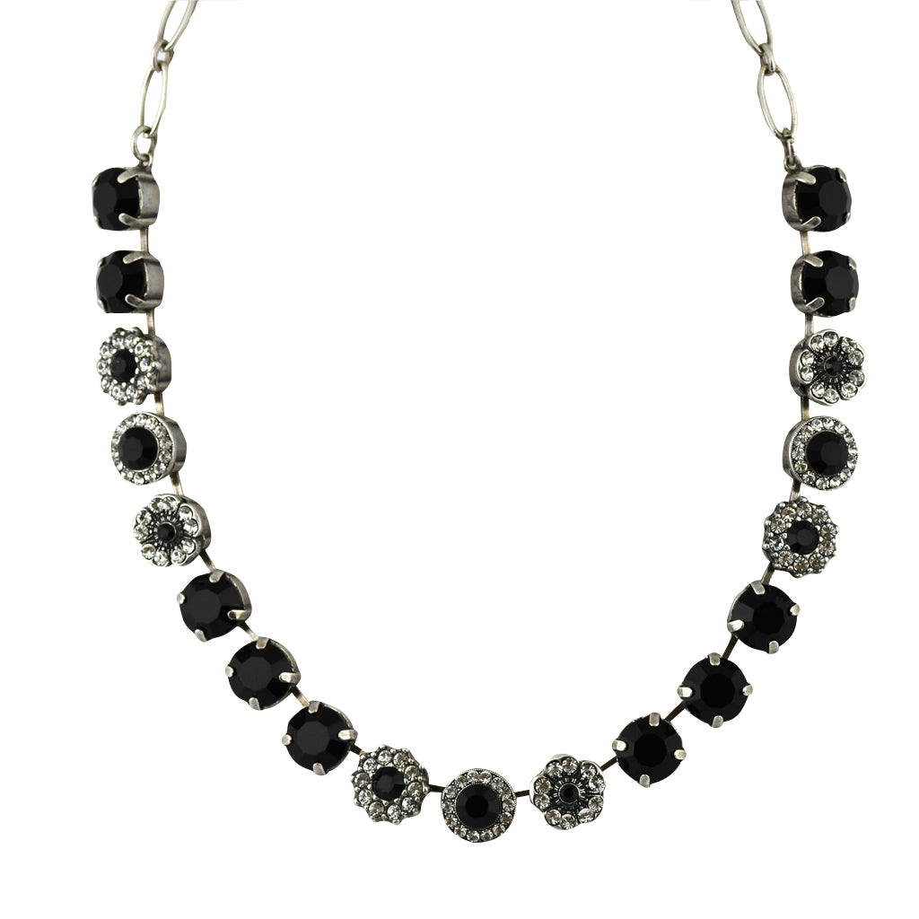 Mariana Jewelry Checkmate Necklace, Silver Plated with Swarovski Crystal, Nature Collection MAR-N-3084 280-1 SP