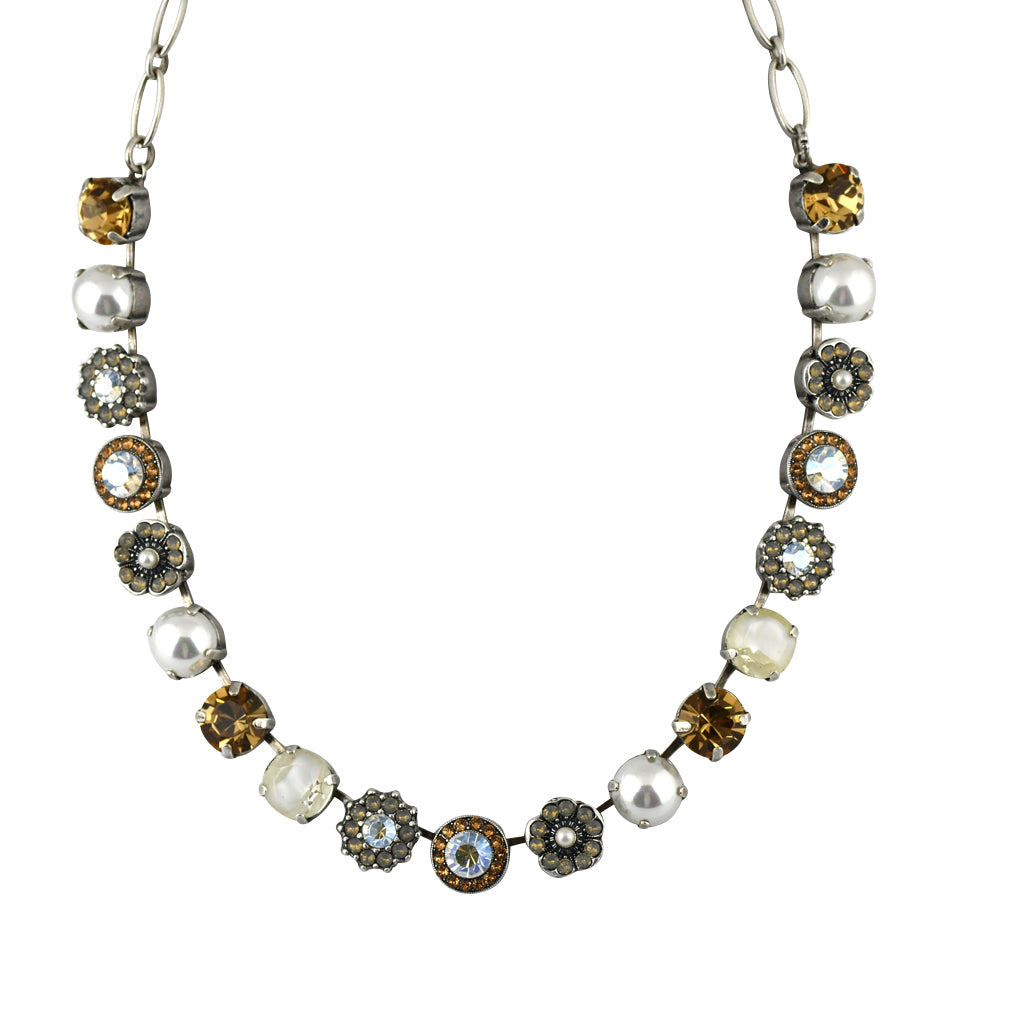 Mariana Jewelry Champagne and Caviar Necklace, Silver Plated with Swarovski Crystal, Nature Collection MAR-N-3084 3911 SP