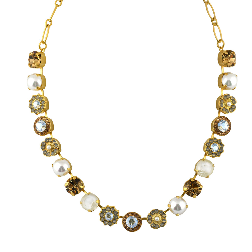 Mariana Jewelry Champagne and Caviar Necklace, Gold Plated with Swarovski Crystal, Nature Collection MAR-N-3084 3911 YG