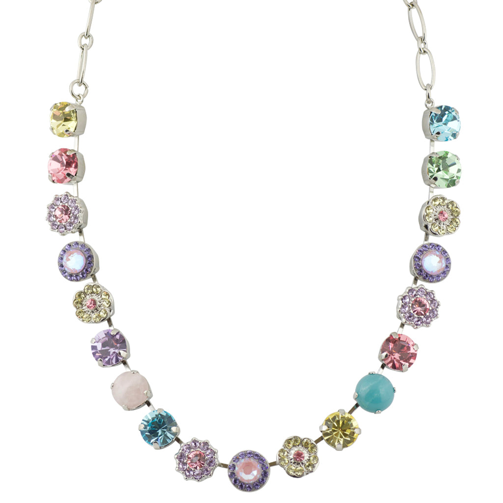 "Mariana Rhodium Plated ""Marilyn"" Large Crystal Frost and Flower Necklace, 18"""