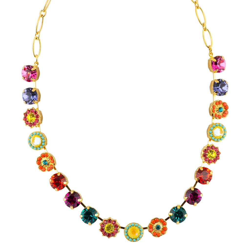 "Mariana Poppy Gold Plated Flower Necklace, 18"" 3173/4"