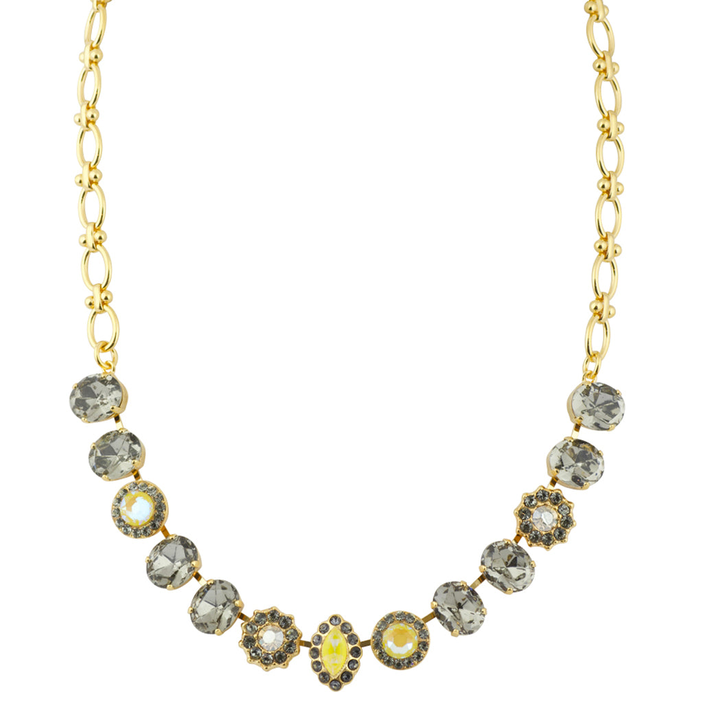 "Mariana ""Painted Lady"" Large Flower and Navette Necklace, Gold Plated Crystal, 18"""