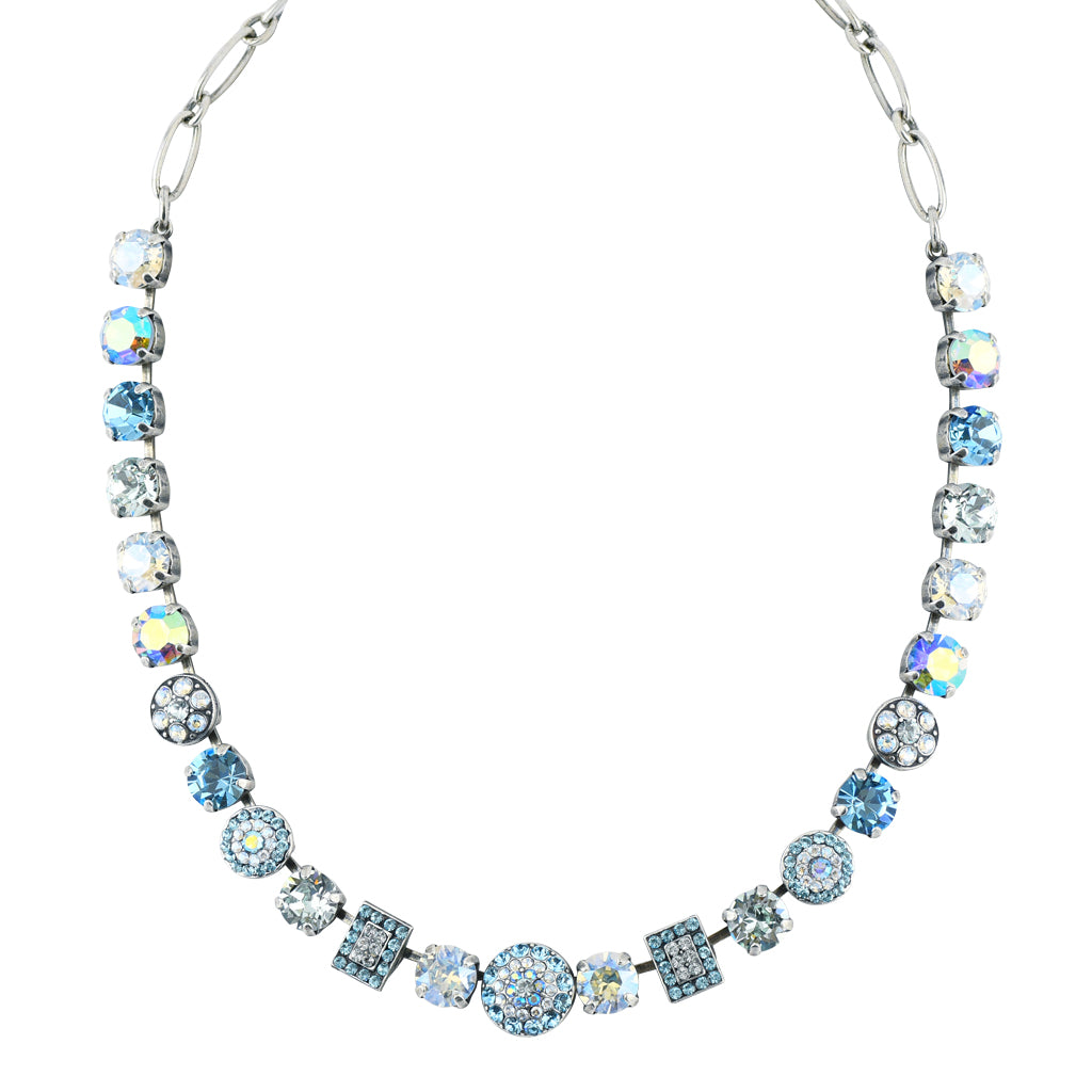 "Mariana Jewelry ""Italian Ice"" Silver Plated Crystal Circle and Rectangle Necklace, 18"""