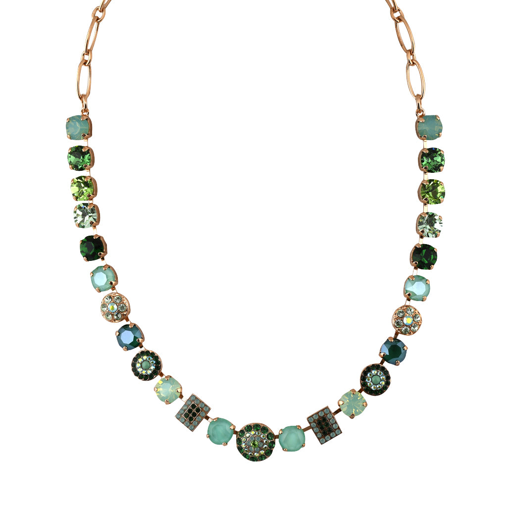 Mariana Jewelry Fern Necklace, Rose Gold Plated with Swarovski Crystal, Nature Collection MAR-N-3161 2143 RG