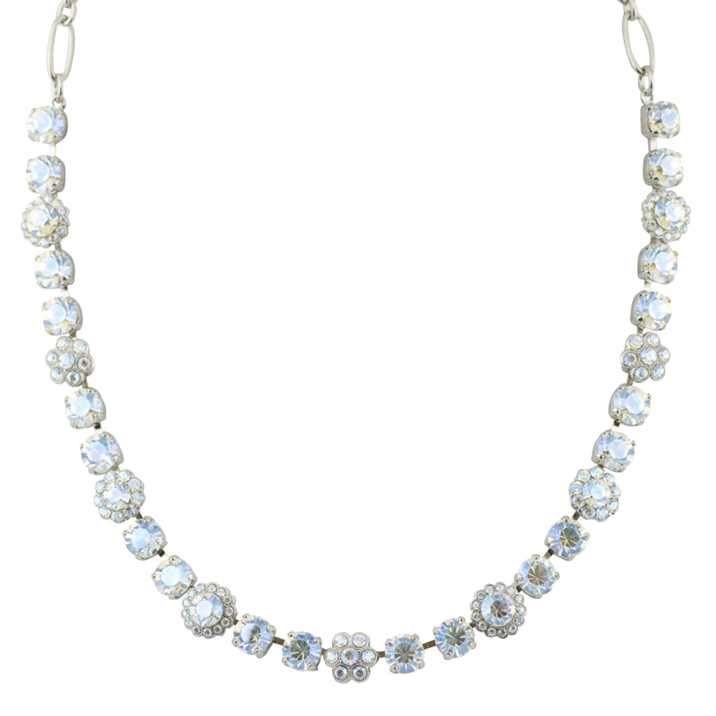 Mariana Moonlight Rhodium Plated Flower Necklace, 18""