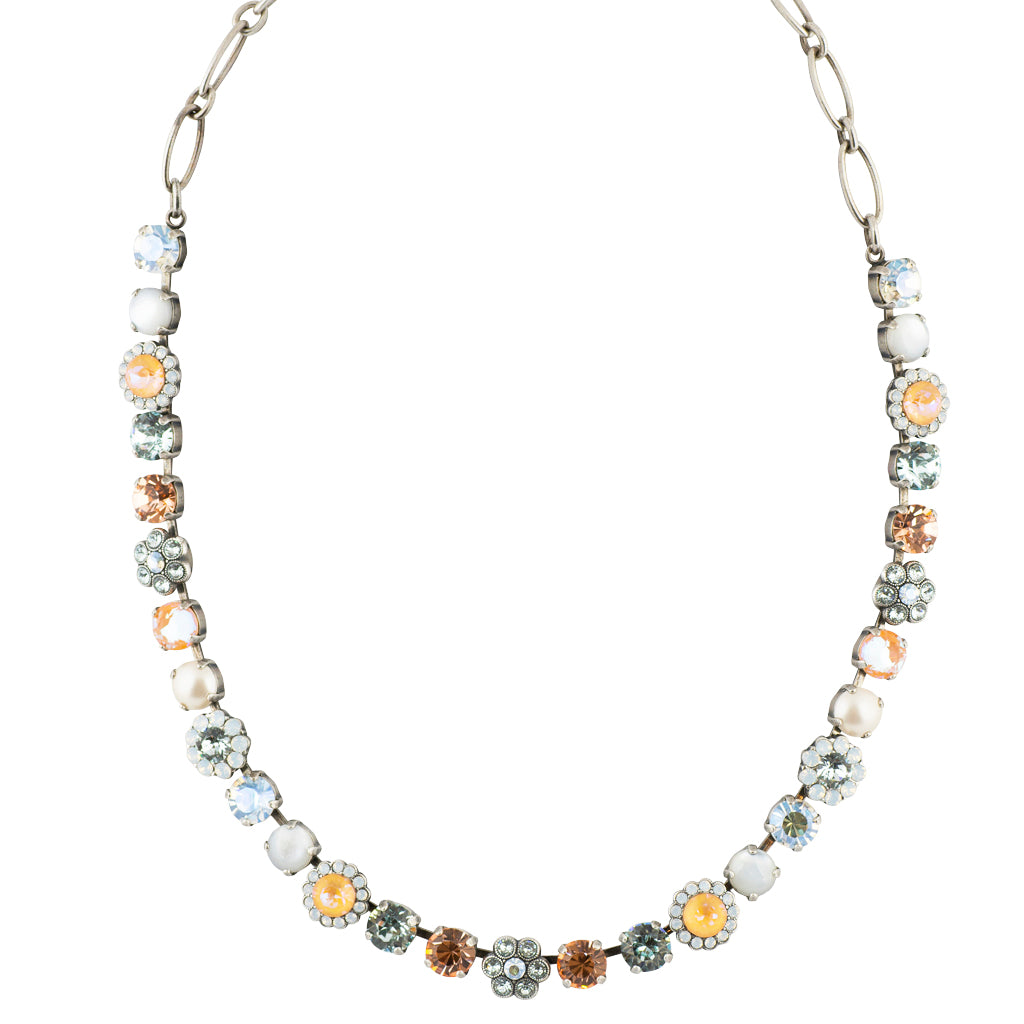"Mariana ""Sweet Pea"" Silver Plated Large Crystal Necklace, 17"""