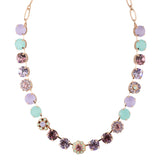 Mariana Lavender Large Rose Gold Plated Crystal Pendant Necklace