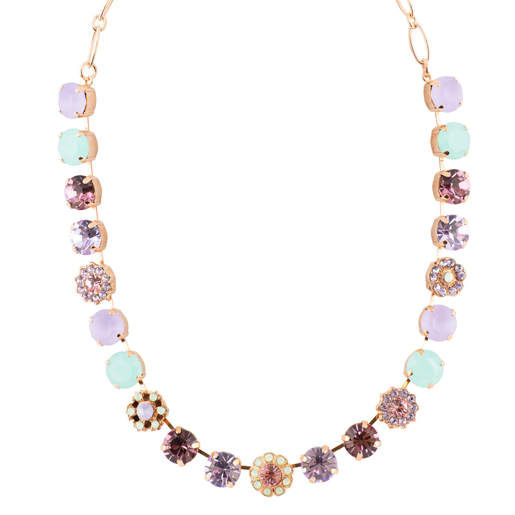 "Mariana ""Lavender"" Rose Gold Plated Large Crystal Necklace, 17"""