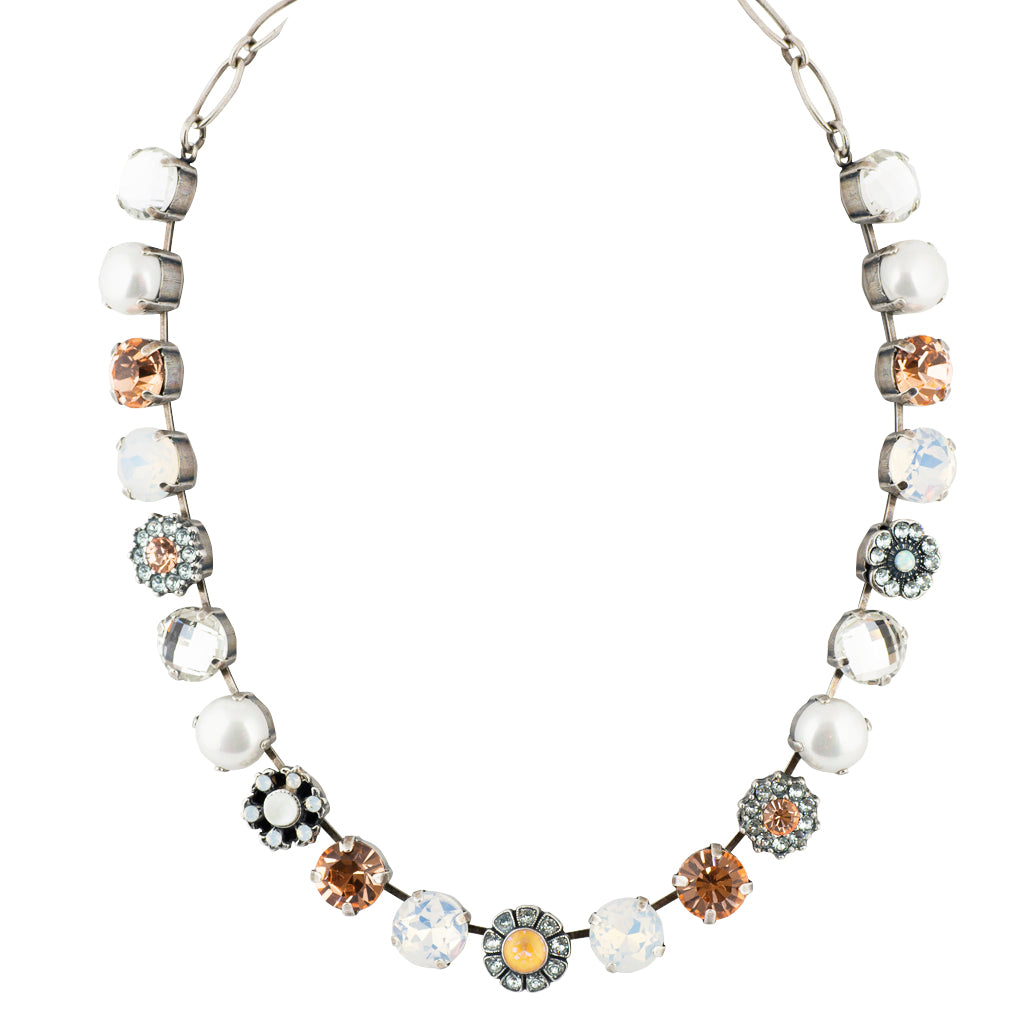 "Mariana ""Sweet Pea"" Silver Plated Crystal Necklace, 18"""