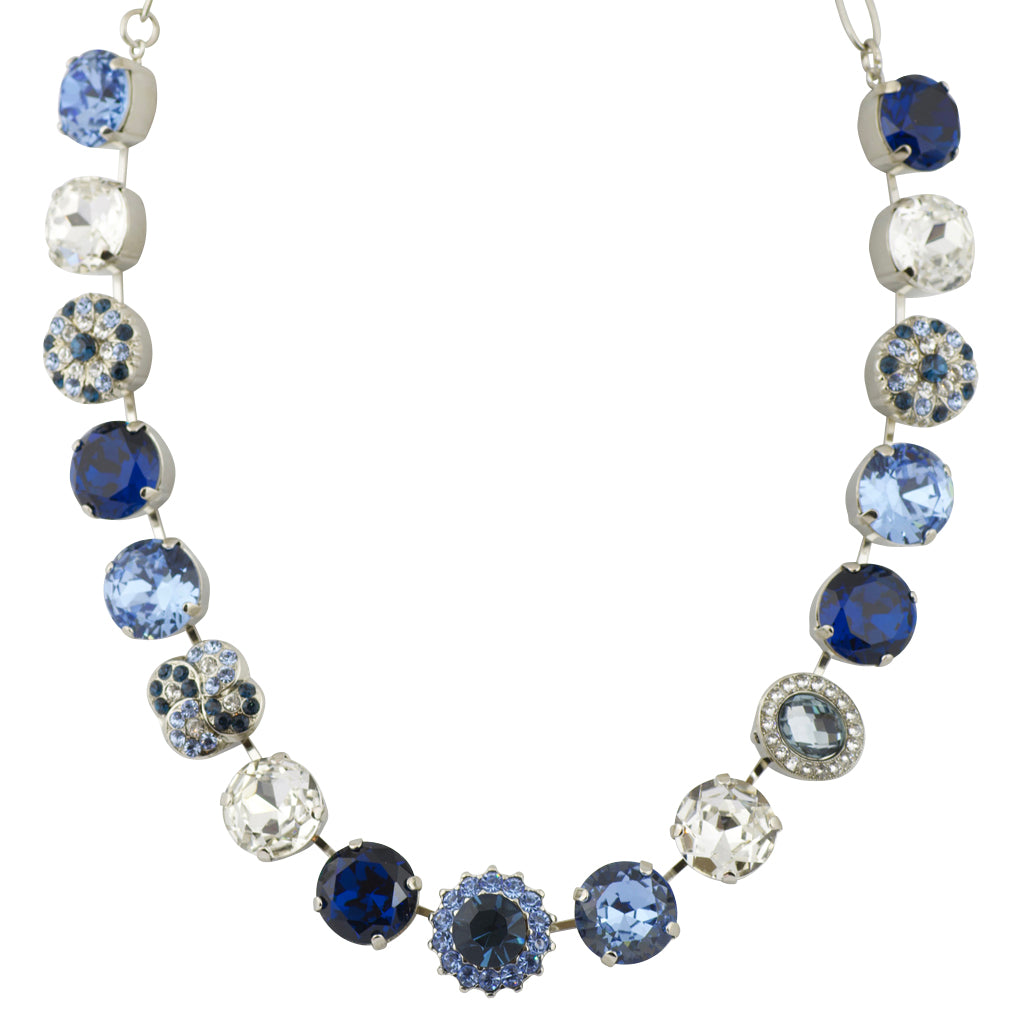 "Mariana ""Night Sky"" Rhodium Plated Large Crystal Round Necklace with Guardian Angel Accents, 18+4"""