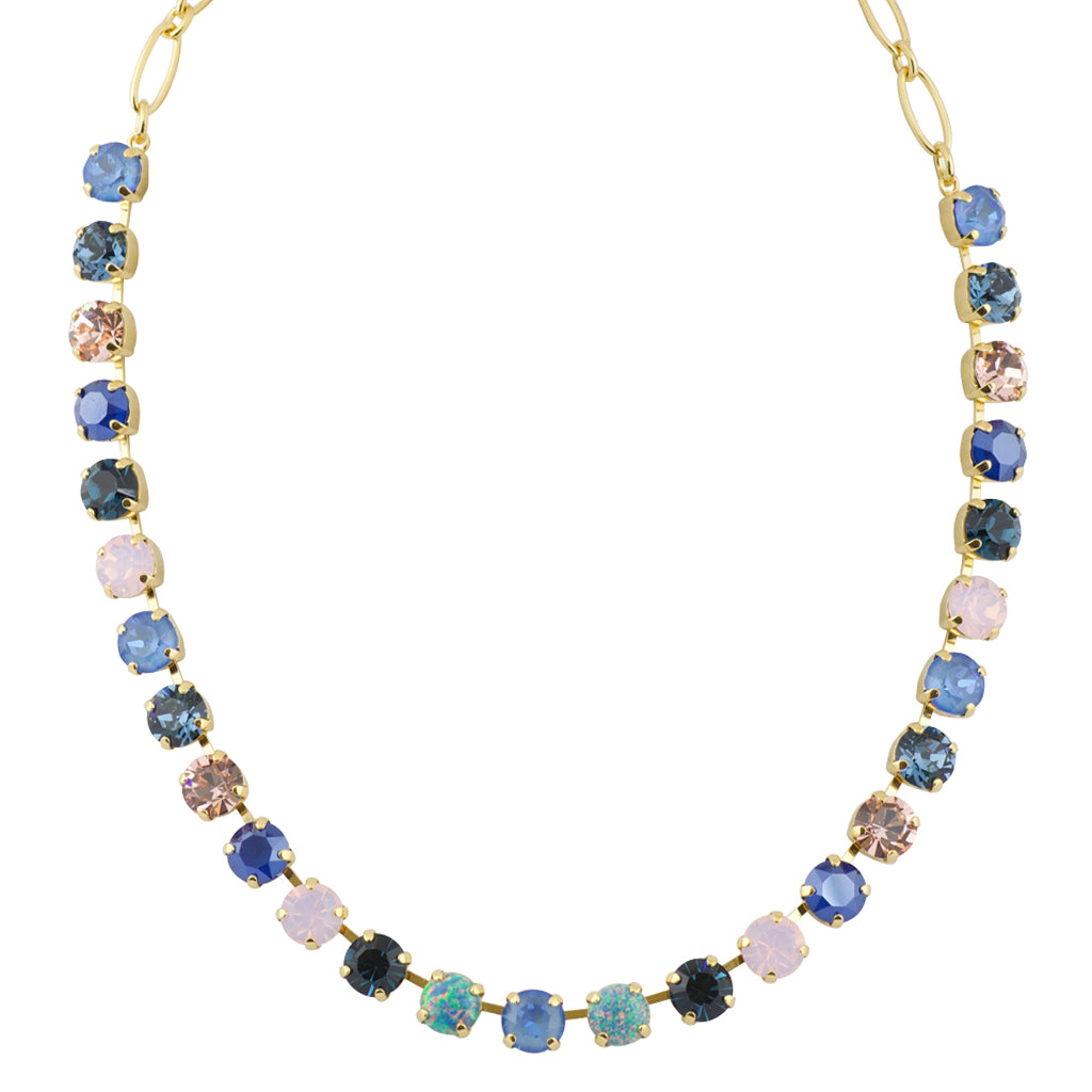 "Mariana ""Blue Morpho"" Gold Plated Opal Accent Crystal Necklace, 18"""