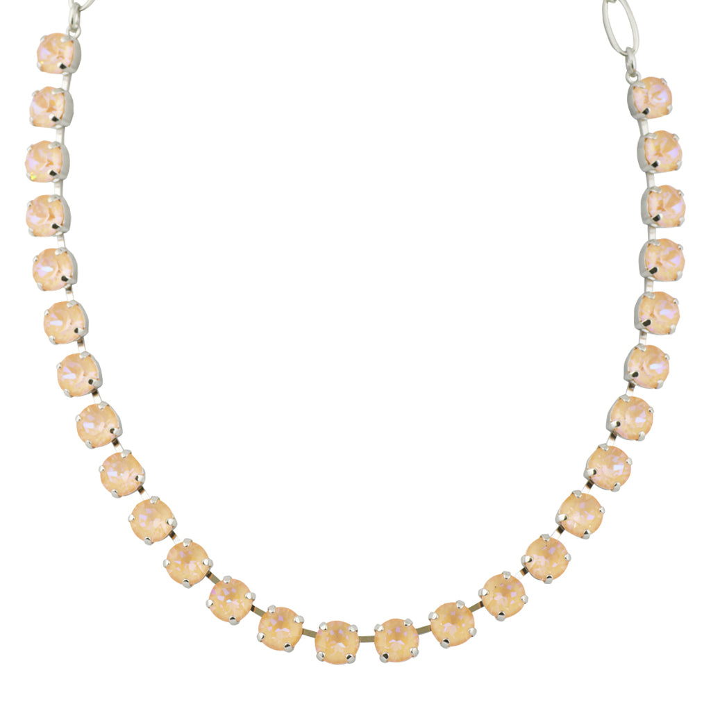 Mariana Sun-Kissed Peach Round Necklace, Rhodium Plated, 18""