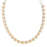 Mariana Sun-Kissed Peach Round Necklace, Rhodium Plated, 18