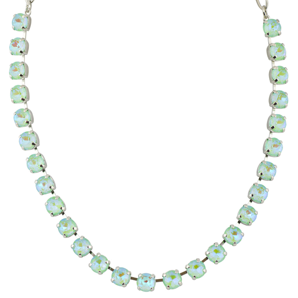 Mariana Sun-Kissed Peridot Round Necklace, Rhodium Plated, 18""
