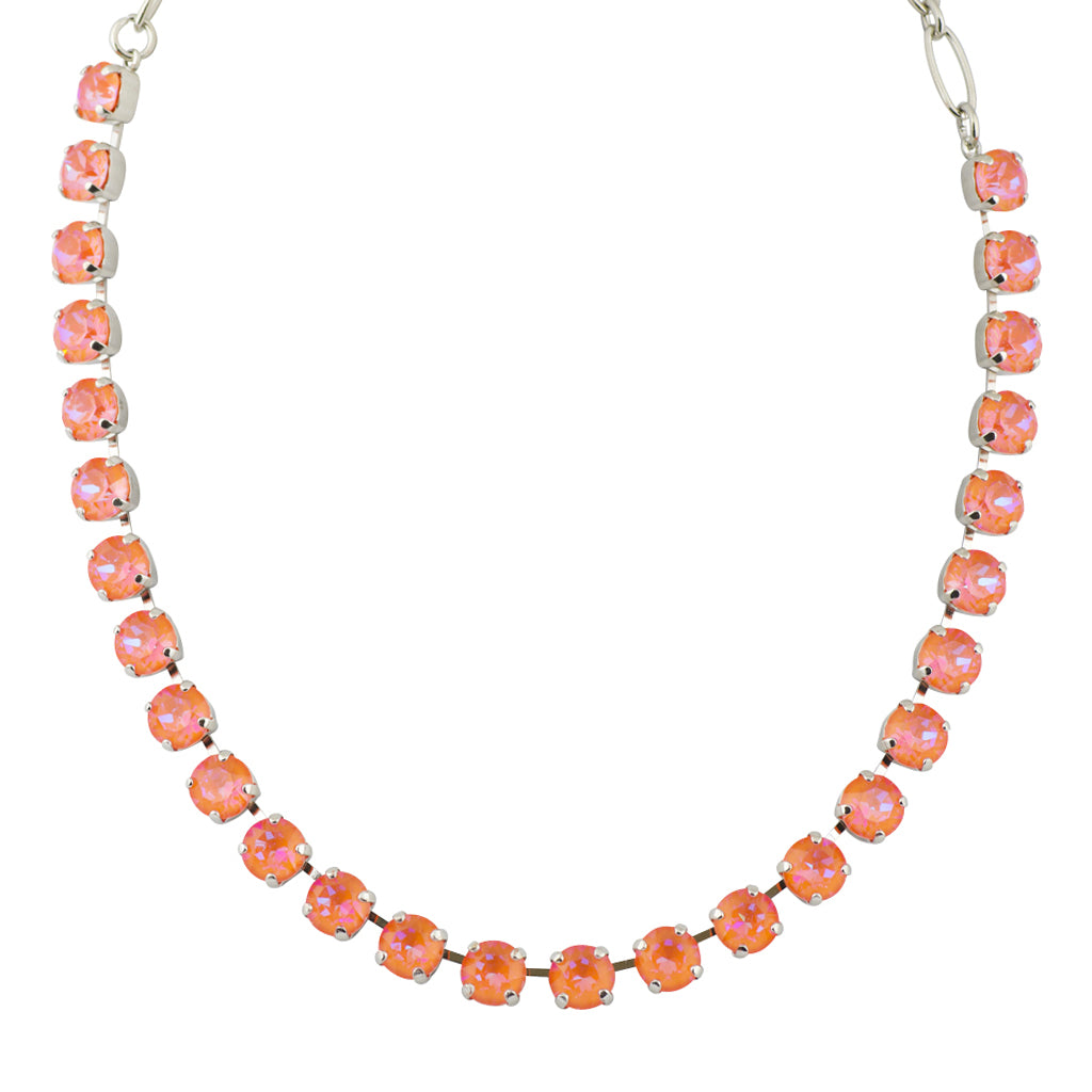 "Mariana ""Sun-Kissed Sunset"" Round Necklace, Rhodium Plated with Crystal, 18"""