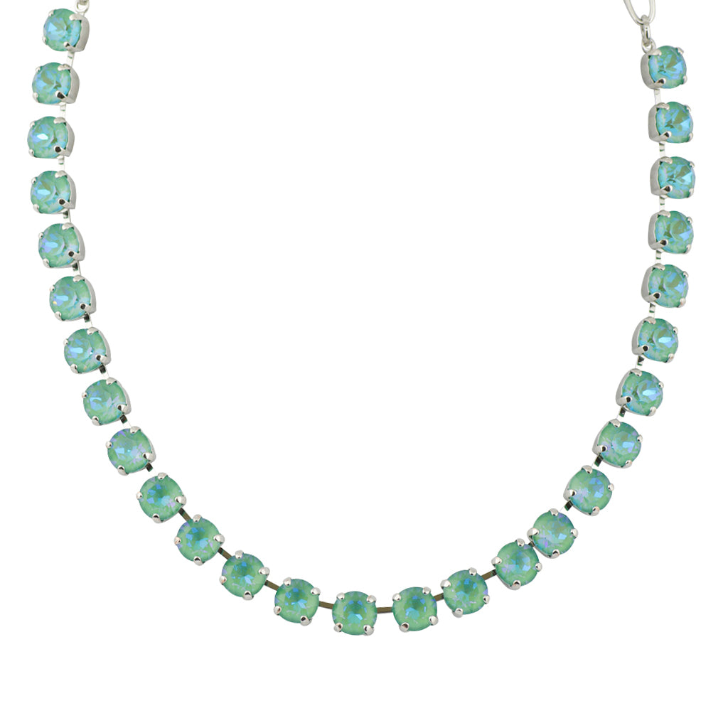 Mariana Sun-Kissed Jade Round Necklace, Rhodium Plated, 18""
