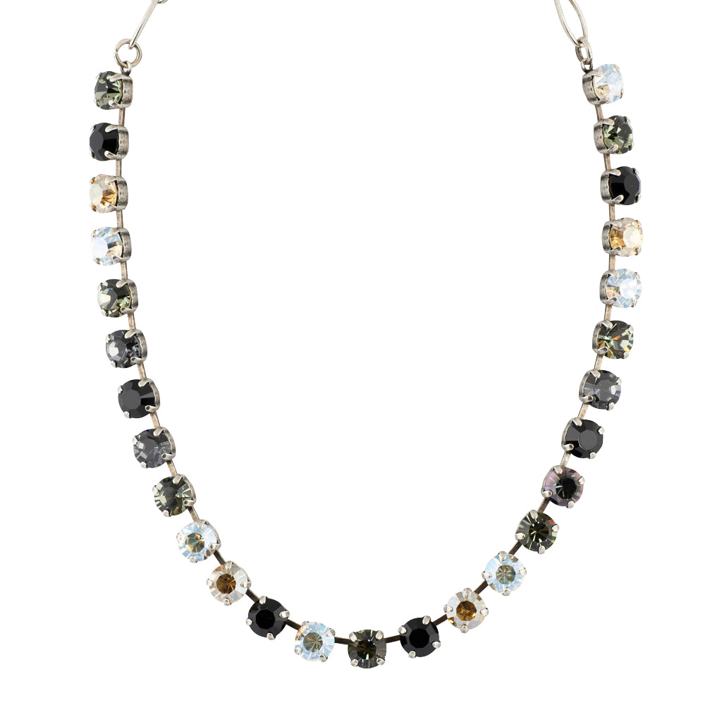 "Mariana ""Black Orchid"" Silver Plated Crystal Necklace, 18"""