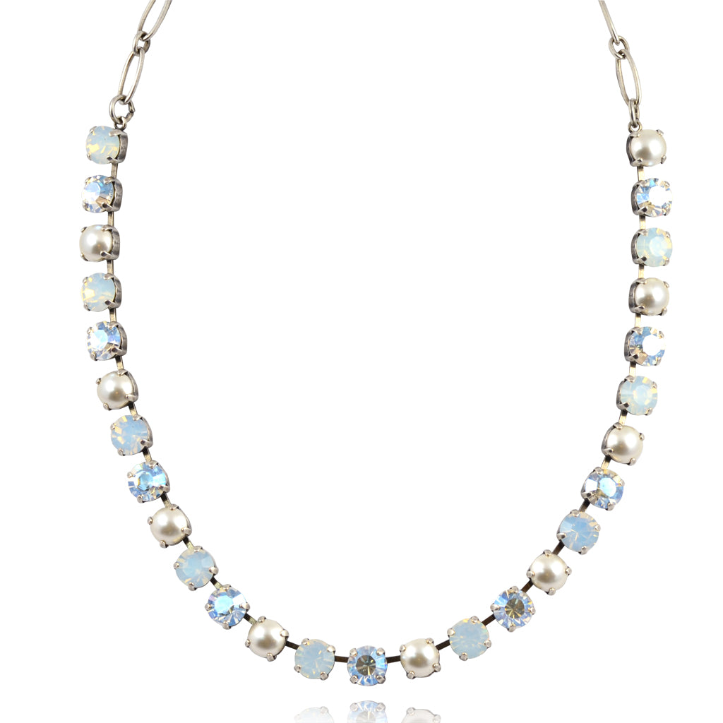 "Mariana ""Bermuda"" Silver Plated Crystal Necklace, 18"""