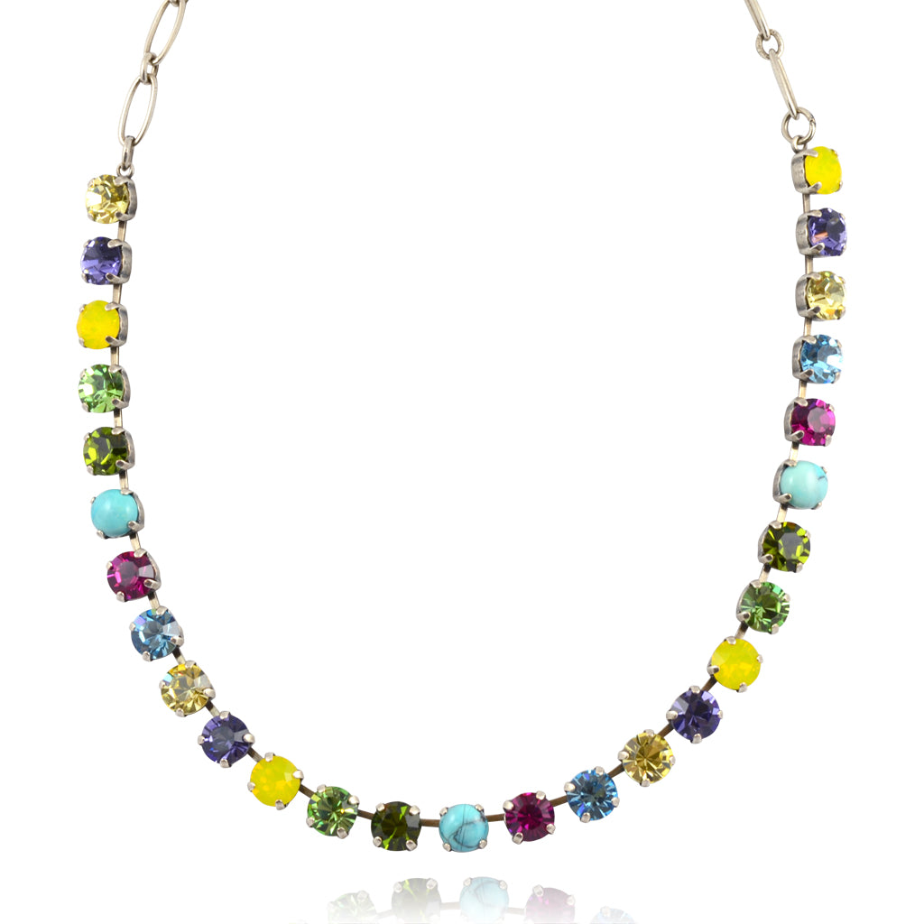 "Mariana Jewelry ""Cuba"" Silver Plated Crystal Necklace with Multicolor Crystal, 18"""
